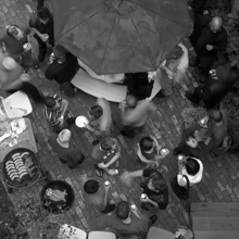 View from above of people at the MLG Institute on Culture and Society bbq, 2007, in Chicago.