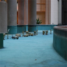 Empty fountain in the lobby of the Westin Bonaventure, Los Angeles