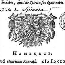 Title page of a first edition printing of Spinoza's <cite>Tractatus Theologico-Politicus</cite>.