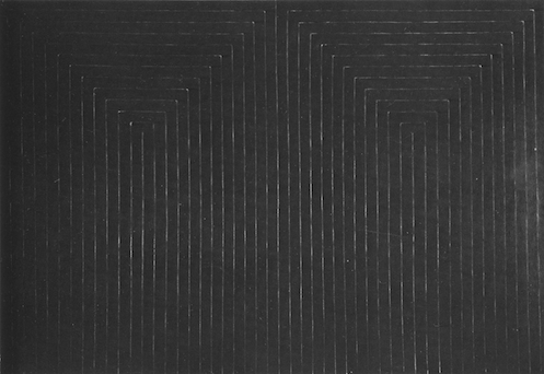 Figure 5: Frank Stella, The Marriage of Reason and Squalor, second version (1959), black enamel on canvas, 7' 6 3/4'' x 11'3/4''. © 1996 The Museum of Modern Art, New York.